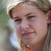 Genie Bouchard, Canada, during a media session before the 1st round of the Connecticut Open at the Connecticut Tennis Center at Yale, New Haven, Connecticut, USA. 17th August 2014. Photo Tim Clayton