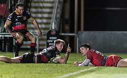 Dragons' Tyler Morgan scores his sides fifth try.<br /> <br /> Photographer Simon Latham/Replay Images<br /> <br /> Anglo-Welsh Cup Round Round 4 - Dragons v Worcester Warriors - Friday 2nd February 2018 - Rodney Parade - Newport<br /> <br /> World Copyright © Replay Images . All rights reserved. info@replayimages.co.uk - http://replayimages.co.uk
