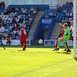 TELFORD COPYRIGHT MIKE SHERIDAN 1/9/2018 - GOAL. Daniel Udoh of AFC Telford scores to make it 2-1 during the Vanarama Conference North fixture between AFC Telford United and Ashton United FC.