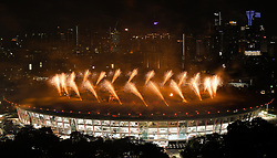 JAKARTA, Aug. 18, 2018  Fireworks explode over the Gelora Bung Karno (GBK) Main Stadium at the opening ceremony of the 18th Asian Games in Jakarta, Indonesia, Aug. 18, 2018. (Credit Image: © Li Xiang/Xinhua via ZUMA Wire)