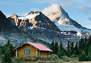 A cabin of Mount Assiniboine Lodge nestles in Mount Assiniboine Provincial Park, British Columbia, Canada. This is part of the Canadian Rocky Mountain Parks World Heritage Site declared by UNESCO in 1984.