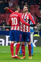 Atletico de Madrid Yannick Carrasco and Sergi Gonzalez celebrating a goal during King's Cup match between Atletico de Madrid and Lleida Esportiu at Wanda Metropolitano in Madrid, Spain. January 09, 2018. (ALTERPHOTOS/Borja B.Hojas)