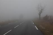 deserted road in the fog in gabriac, corniche des cevennes , cevennes , france  /  route deserte dans le brouillard, cevennes , france