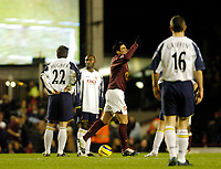 Photo: Leigh Quinnell.<br /> Arsenal v Portsmouth. The Barclays Premiership.<br /> 28/12/2005. Arsenals Jose Antonio Reyes celebrates his goal as Portsmouth get ready to restart the match.