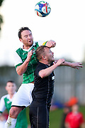 The 2 captains, Manukau City's Hone Fowler and Waitakere City's Paul Rhodes battle in the air. ISPS Handa Chatham Cup Round 2, Waitakere City FC v Manukau City AFC, Fred Taylor Park, Whenuapai, Auckland, Monday 5th June 2017. Copyright Photo: David Joseph  / www.photosport.nz