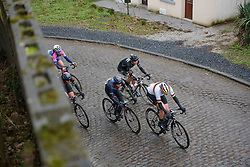CANYON//SRAM Racing set the pace up the cobbled climb at the 112.8 km Le Samyn des Dames on March 1st 2017, from Quaregnon to Dour, Belgium. (Photo by Sean Robinson/Velofocus)