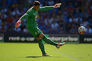Goalkeeper Alex McCarthy of Crystal Palace taking a goal kick. Barclays Premier league match, Crystal Palace v Aston Villa at Selhurst Park in London on Saturday 22nd August 2015.<br /> pic by John Patrick Fletcher, Andrew Orchard sports photography.