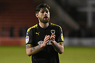 AFC Wimbledon midfielder Anthony Wordsworth (40) applauds the fans during the EFL Sky Bet League 1 match between Walsall and AFC Wimbledon at the Banks's Stadium, Walsall, England on 12 February 2019.