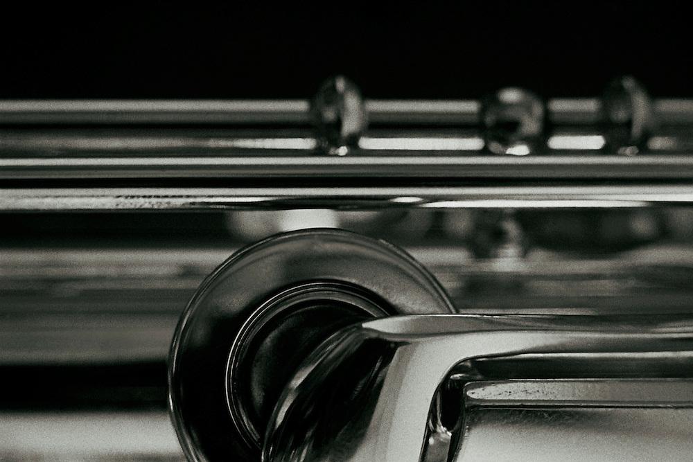Close-up view of a shiny flute.