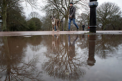 © Licensed to London News Pictures. 16/02/2021. London, UK. A man and his dog are reflected in a large puddle as they walk in Greenwich Park . Flood warnings are in place in parts of the UK. Photo credit: George Cracknell Wright/LNP