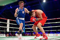 17-11-2019 NED: World Port Boxing Netherlands - Kazakhstan, Rotterdam<br /> 3rd World Port Boxing in Excelsior Stadion Rotterdam / Max van der Pas (NED) in action against Yermakhan Zhakpekov (KAZ), 75 kg class