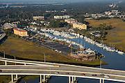 Aerial view of Ripley Point Marina Charleston, South Carolina.