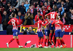 MADRID, Jan. 27, 2019  Atletico Madrid's players celebrate a goal of their team during a Spanish league match between Atletico Madrid and Getafe in Madrid, Spain, on Jan. 26, 2019. Atletico Madrid won 2-0. (Credit Image: © Edward F. Peters/Xinhua via ZUMA Wire)