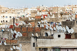 Satellite dishes on roofs in Fes al Bali medina, Fes, Morocco