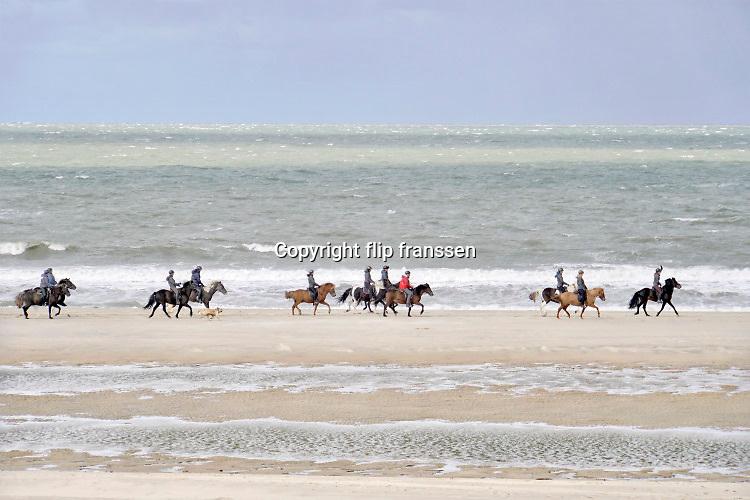 Nederland, Zeeland, Groede 5-9-2019  Paardrijden over het strand langs de zee, noordzee, noordzeekust, kust, in zeeuws vlaanderen. Foto: Flip Franssen