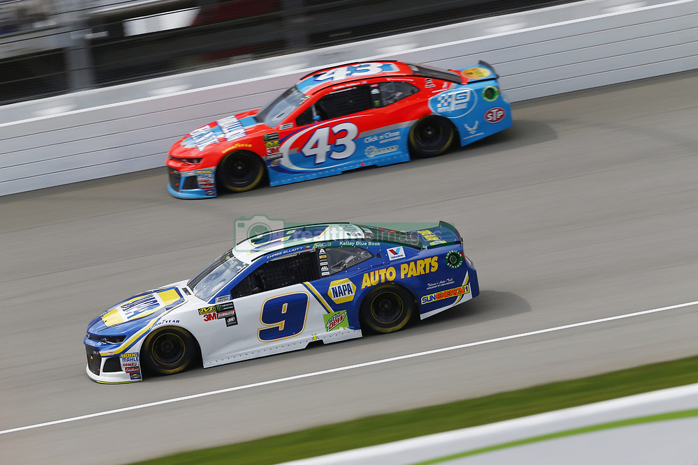 August 12, 2018 - Brooklyn, Michigan, United States of America - Chase Elliott (9) and Darrell Wallace, Jr (43) battle for position during the Consumers Energy 400 at Michigan International Speedway in Brooklyn, Michigan. (Credit Image: © Chris Owens Asp Inc/ASP via ZUMA Wire)