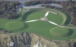 Image ©Licensed to i-Images Picture Agency. Aerial views. United Kingdom.<br /> The Battle of Britain Memorial which is in the shape of a Propeller is situated on the Cliffs just outside Capel-le-Ferne. Picture by i-Images