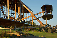 NC01440-00...NORTH CAROLINA - A life-like sculpture of the first flight of the Wright brothers airplane at the Wright Brothers National Memorial on the Outer Banks at Kitty Hawk.