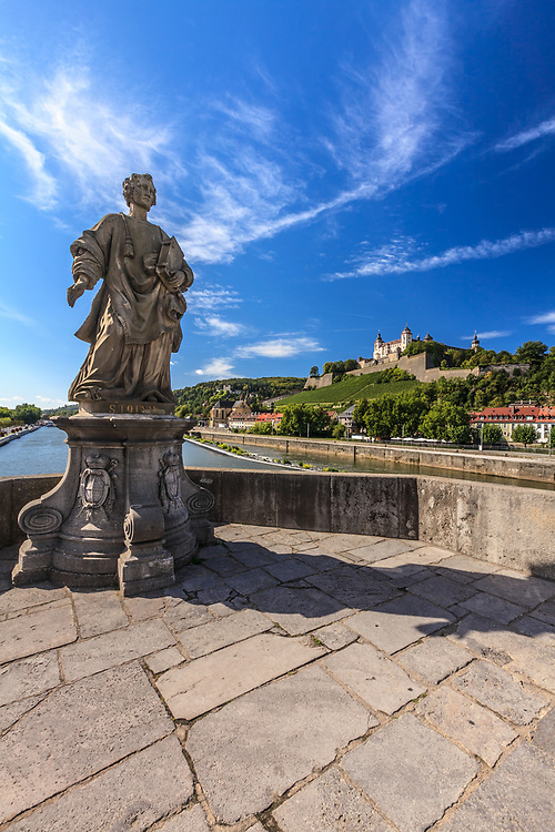 The statue on Old Main Bridge in Würzburg, Germany. The sculptures on the bridge depict the saints that are related to the history of Würzburg and Franconia.