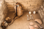 Chauchilla Cemetery is a cemetery that contains prehispanic mummified human remains and archeological artifacts, located in the desert 30 kilometres south of the city of Nazca in Peru.