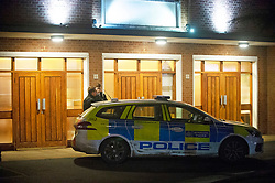 ©Licensed to London News Pictures 11/12/2019. <br /> Addiscombe,UK. Police outside church doors.  A child has been rushed to hospital after being seriously burnt at a Christmas event at Our Lady of Annuncation Church, Addiscombe, Croydon, South East London. A police cordon is in place at the church. Photo credit: Grant Falvey/LNP