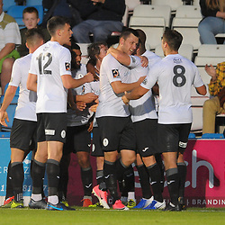 TELFORD COPYRIGHT MIKE SHERIDAN GOAL. Aaron Williams scores to make it 2-0 to Telford during the National League North fixture between AFC Telford United and Kidderminster Harriers on Tuesday, August 6, 2019.<br /> <br /> Picture credit: Mike Sheridan<br /> <br /> MS201920-006