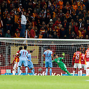Trabzonspor's scores during their Turkish superleague soccer derby match Galatasaray between Trabzonspor at the AliSamiYen spor kompleksi TT Arena in Istanbul Turkey on Saturday, 22 November 2014. Photo by Aykut AKICI/TURKPIX
