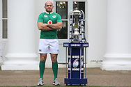 Rory Best, the Ireland captain poses with the Six Nations Trophy. RBS Six Nations 2017 media launch at the Hurlingham Club, Ranelagh Gardens in London on Wednesday 25th January 2017.<br /> pic by John Patrick Fletcher, Andrew Orchard sports photography.