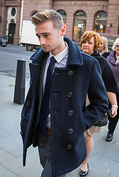 © Licensed to London News Pictures. 17/01/2017. London, UK. Terror attack survivor Owen Richards arriving at The Royal Courts of Justice for the second day of an inquest into the death of 30 Brits in the Tunisia terror attack. The attack took place is Sousse, Tunisia, when Seifeddine Rezgui killed 38 tourists on a beach outside Imperial Marhaba hotel. Photo credit : Tom Nicholson/LNP