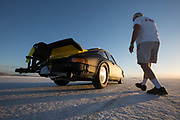 Image of a hot rod black 1975 Porsche 911 racecar at the Bonneville Salt Flats, Utah, American Southwest by Randy Wells