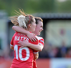 Bristol Academy's Nikki Watts celebrates with team mate Georgia Evans - Photo mandatory by-line: Paul Knight/JMP - Mobile: 07966 386802 - 09/05/2015 - SPORT - Football - Bristol - Stoke Gifford Stadium - Bristol Academy Women v Arsenal Ladies FC - FA Women's Super League