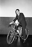 Seamus O'Hanlon,  winner of Rás Tailteann 1962, on the Raleigh 'Gran Sport' bicycle with Campagnole 10-speed gears presented to him during his tour of Irish Raleigh Industries Ltd. 14.08.1962