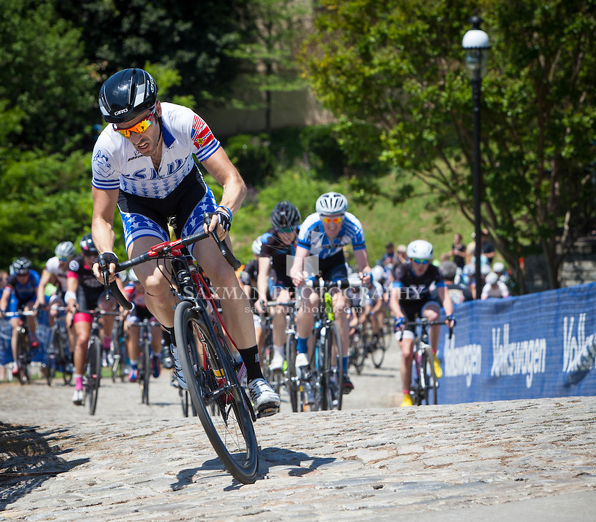 Road course winner Brian Dziewa leading the pack up Libby Hill at 2014 USA Cycling Road National Championships, Richmond, Virginia