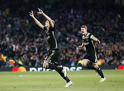 BRITAIN-LONDON-FOOTBALL-UEFA CHAMPIONS LEAGUE-TOTTENHAM HOTSPUR VS AJAX.(190430) -- LONDON, April 30, 2019  Ajax's Donny van de Beek (L) celebrates scoring the only goal of the game with Matthijs de Ligt (R) during the UEFA Champions League Semifinal First Leg match between Tottenham Hotspur and Ajax at The Tottenham Hotspur Stadium in London, Britain on April 30, 2019. Ajax won 1-0.  FOR EDITORIAL USE ONLY. NOT FOR SALE FOR MARKETING OR ADVERTISING CAMPAIGNS. NO USE WITH UNAUTHORIZED AUDIO, VIDEO, DATA, FIXTURE LISTS, CLUB/LEAGUE LOGOS OR ''LIVE'' SERVICES. ONLINE IN-MATCH USE LIMITED TO 45 IMAGES, NO VIDEO EMULATION. NO USE IN BETTING, GAMES OR SINGLE CLUB/LEAGUE/PLAYER PUBLICATIONS. (Credit Image: © Matthew Impey/Xinhua via ZUMA Wire)
