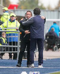 Inverness Caledonian Thistle's manager John Robertson and Falkirk's new manager Paul Hartley at the end. Falkirk 0 v 0 Inverness Caledonian Thistle, Scottish Championship game played 14/10/2017 at The Falkirk Stadium.