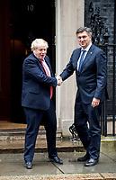 Prime Minister Boris Johnson meeting Andrej Plenković Prime Minister of Croatia, to Downing street. London, UK. 24.02.20