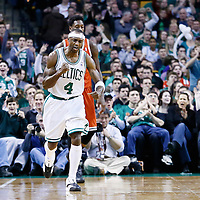 21 December 2012: Boston Celtics shooting guard Jason Terry (4) celebrates a three points during the Milwaukee Bucks 99-94 overtime victory over the Boston Celtics at the TD Garden, Boston, Massachusetts, USA.