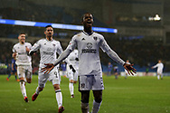 Ryan Sessegnon of Fulham celebrates after scoring his teams 3rd goal. EFL Skybet championship match, Cardiff city v Fulham at the Cardiff city stadium in Cardiff, South Wales on Boxing Day, Tuesday 26th December 2017.<br /> pic by Andrew Orchard, Andrew Orchard sports photography.