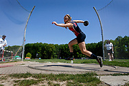 Hickory's Jennifer Neider throws the discus at the PIAA District 10 Class AA Track & Field Championships at Hickory High School Saturday morning, May 19, 2012.