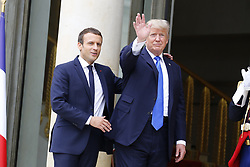 July 13, 2017 - Paris, France - French President EMMANUEL MACRON welcomes US president DONALD TRUMP, who will be guest of honour at Friday's Bastille day celebrations, and to discuss Syria and counter-terrorism. (Credit Image: © Panoramic via ZUMA Press)