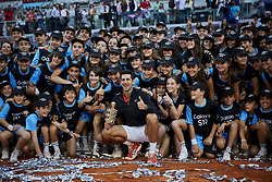 May 12, 2019 - Madrid, Madrid, Spain - Novak Djokovic from Serbia seen posing with a trophy after the Mutua Madrid Open Masters final match on day eight at Caja Magica in Madrid..Novak Djokovic beats Stefanos Tsitsipas. (Credit Image: © Legan P. Mace/SOPA Images via ZUMA Wire)
