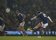 Thomas Ramos kicks a conversion during the 2015 Under 20s 6 Nations match between England and France at the American Express Community Stadium, Brighton and Hove, England on 20 March 2015.