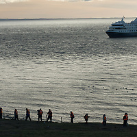 Tourists return to the Mare Australis after visiting a huge Magellanic Penguins rookery on Magdalena Island in the Strait of Magellan, Chile.