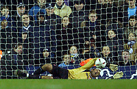 Photo. Jed Wee.<br /> Tottenham Hotspur v Middlesbrough, Carling Cup, White Hart Lane, London. 17/12/2003.<br /> Boro keeper Mark Schwarzer saves Gustavo Poyet's penalty.