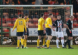 Falkirk's Kieran Duffie sent of by Referee Stephen Finnie..Dunfermline 0 v 1 Falkirk, 26/12/2012..©Michael Schofield.