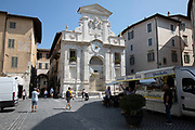 Fontana di Piazza del Mercato, the market square fountain in Spoleto, Umbria, Italy. One of the most grandiose fountains in Spoleto could possibly be that of the large fountain in Piazza del Mercato, located in the historical centre of Spoleto.