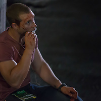 Australian actor Jai Courtney rests in the set during a break of his next movie fifth in the Die Hard series titled Good Day to Die Hard in Budapest, Hungary on July 11, 2012. ATTILA VOLGYI