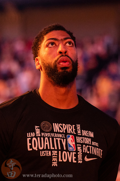 February 27, 2020; San Francisco, California, USA; Los Angeles Lakers forward Anthony Davis (3) before the game against the Golden State Warriors at Chase Center.