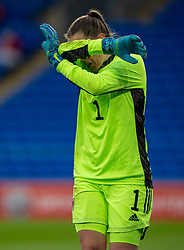 CARDIFF, WALES - Tuesday, April 13, 2021: Wales' goalkeeper Laura O'Sullivan during a Women's International Friendly match between Wales and Denmark at the Cardiff City Stadium. (Pic by David Rawcliffe/Propaganda)