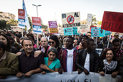 November 10, 2018 - Rome, Italy, Italy - Mimmo Lucano, the mayor of Riace, participates in a demostration in Rome, on November 10, 2018 in Rome, Italy. The Security Decree Bill 'Decreto Sicurezza' tightening immigration policy and championed by far-right League leader and Deputy Prime Minister Matteo Salvini was passed comfortably in the senate earlier this week. 20000 people from all over Italy gather together in Rome under the slogan 'United and in solidarity against the Government, racism and the Salvini Decree on November 10, 2018 in Rome , Italy  (Credit Image: © Andrea Ronchini/NurPhoto via ZUMA Press)
